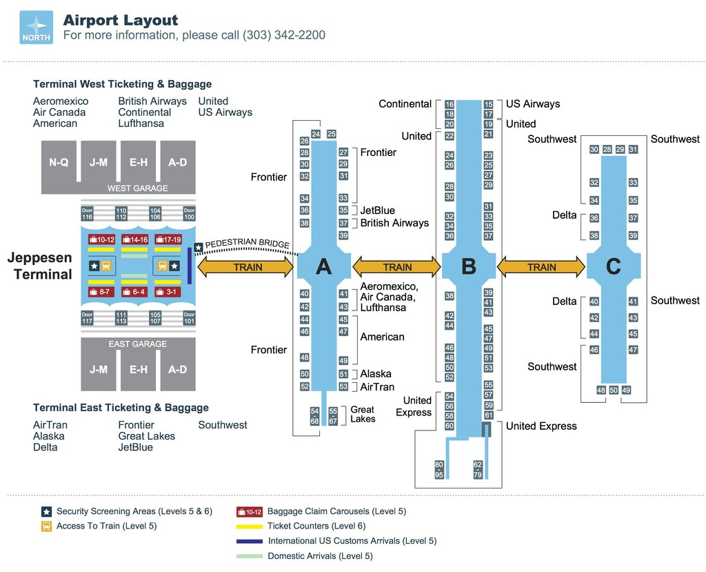 terminal map denver airport | Vail Aspen Limo